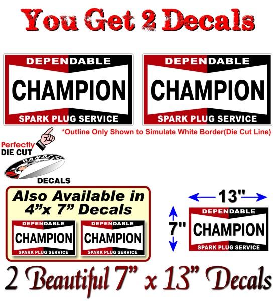 2 Champion Spark Plug Vintage 13 Quot Decals Antique Cleaner