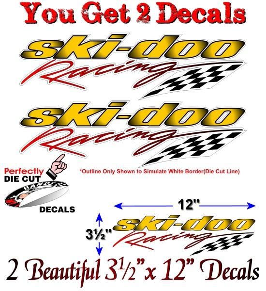 2 Ski Doo Racing Graphics 12 Quot Vinyl Decals For Snowmobile