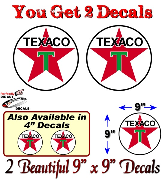 2 Texaco Gasoline Vintage Gas Pump Decals Service Station