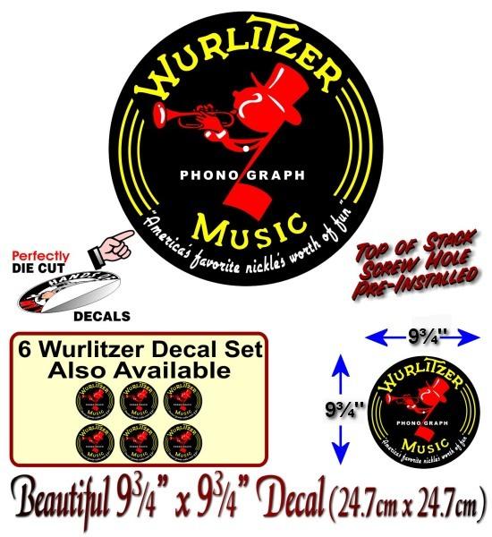 1015 Wurlitzer Jukebox Top of Stack Mechanism Johnny One Note Decal Sticker
